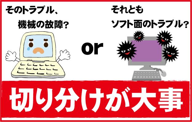 パソコンのトラブルは機械の故障かアプリ、ソフトの故障かの切り分けが大事です。
