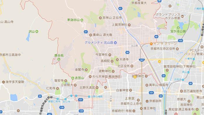 パソコン修理のご対応地域 京都市北区