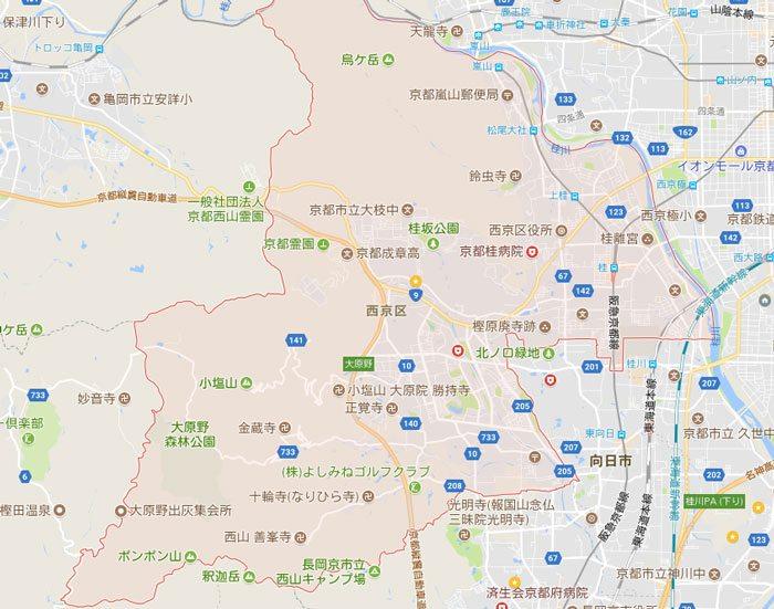 NCOのパソコン出張地域 京都市西京区