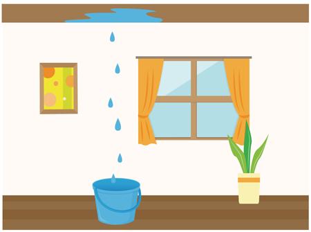 雨漏りの時のイメージイラスト