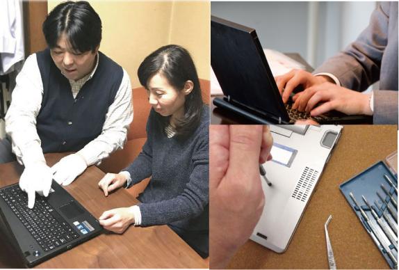京都のパソコン修理屋のエヌシーオーの修理と設定の作業風景写真